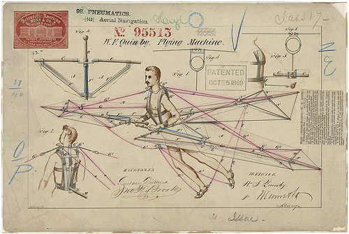 Patent Drawing for a Flying Machine, 10/05/1869 - 10/05/1869