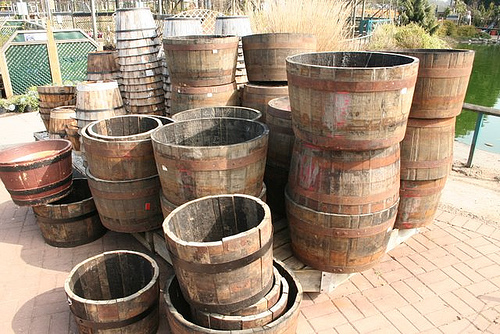 Wooden garden tubs made from barrels